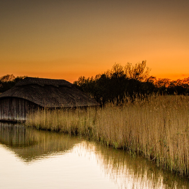 """Boathouse at Sunset"" stock image"