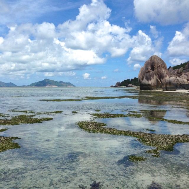 """""""Low Tide at Anse Source D'argent"""" stock image"""
