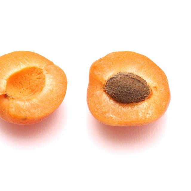 """Apricot on white background"" stock image"