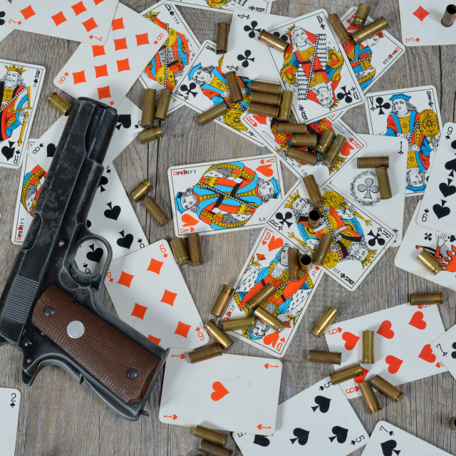 """gun with playing cards"" stock image"