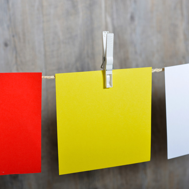 """""""5 colored post it hanging"""" stock image"""