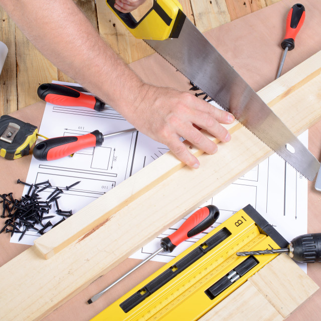 """""""a man made a piece of furniture with various carpentry tools"""" stock image"""