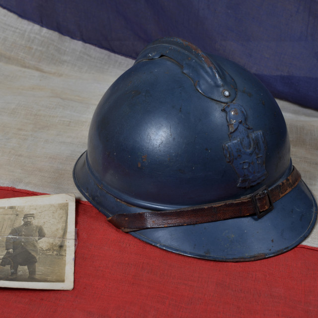 """""""french ww1 helmet with a antique photograph"""" stock image"""