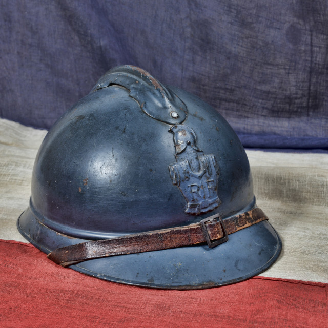 """""""french ww 1 helmet on the antique french flag"""" stock image"""