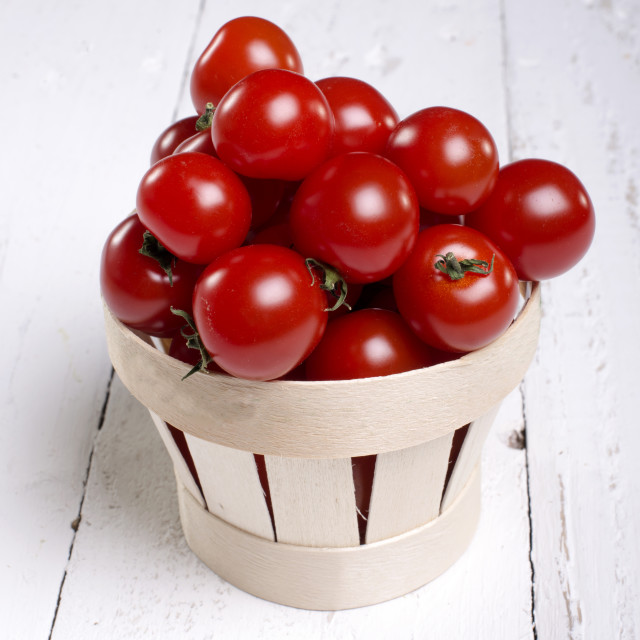 """""""Cherry Tomatoes in a recycle bin"""" stock image"""