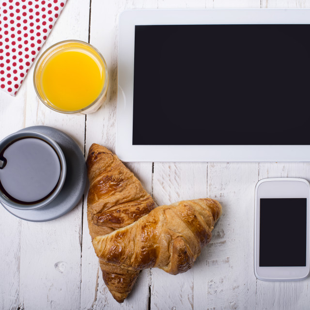 """breakfast and computer"" stock image"