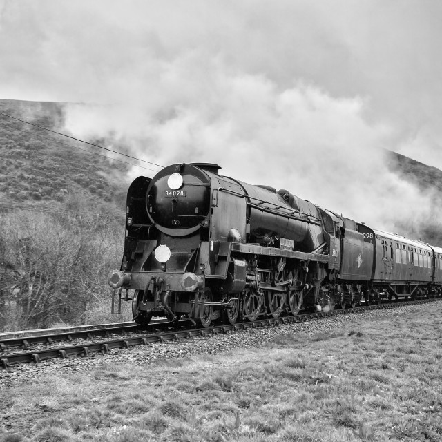 """SR Rebuilt West Country No. 34028 Eddystone"" stock image"