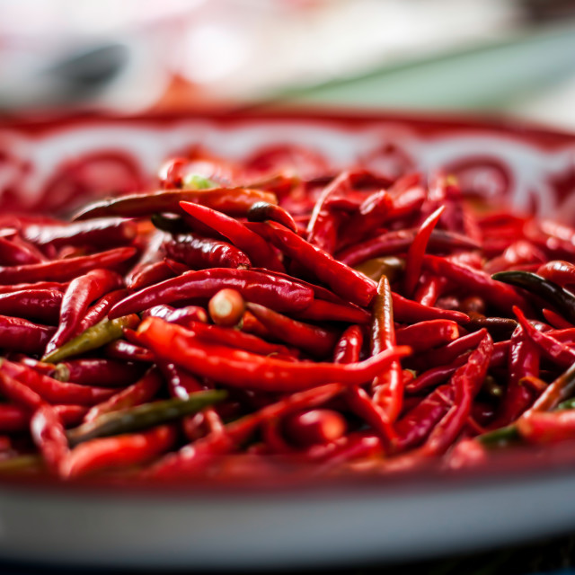 """Chilli on a plate"" stock image"