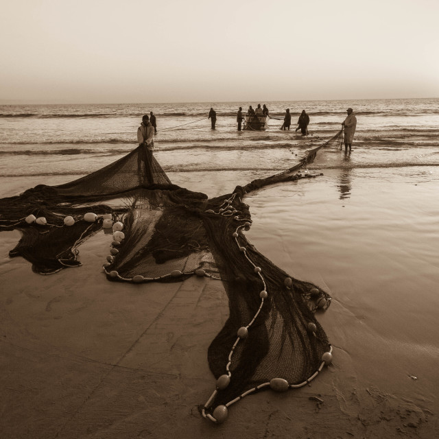 """Fishing Nets Beach"" stock image"