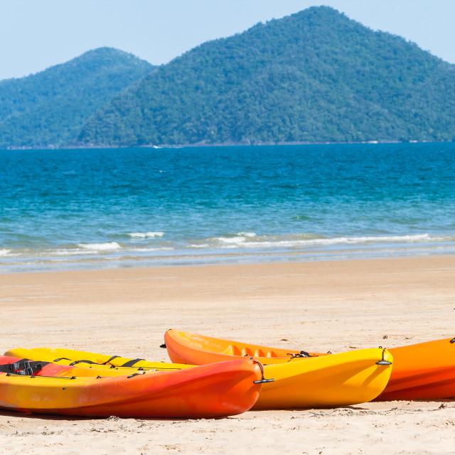 """Kayak Canoes Beach Ocean"" stock image"