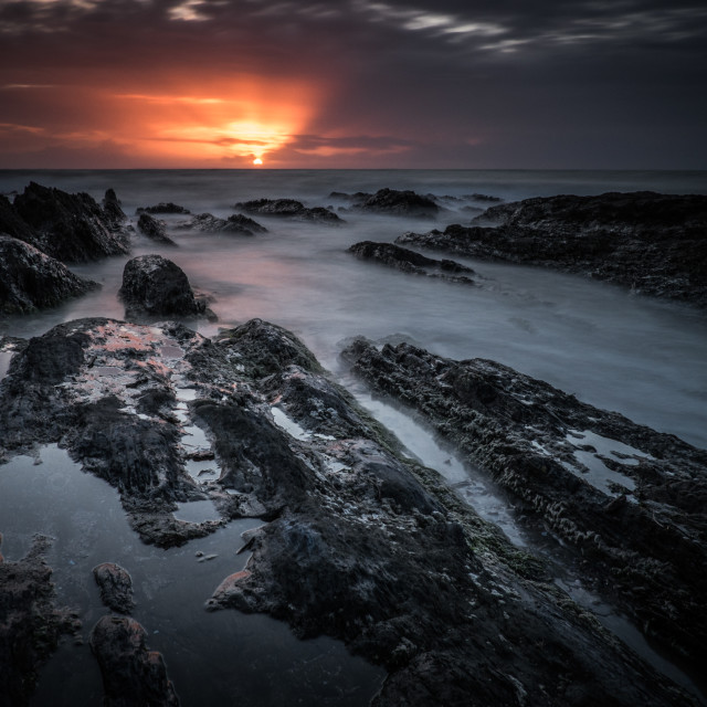 """Sunset over Croyde"" stock image"