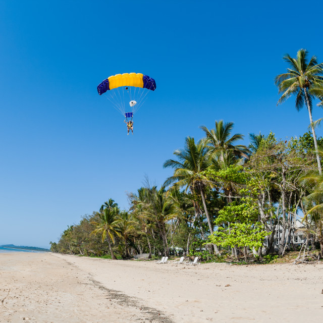 """Skydiving Tropical Landing"" stock image"