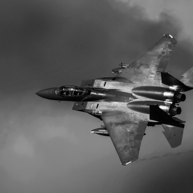 """F15 Eagle in Mono"" stock image"