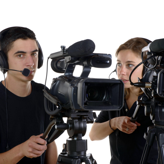 """""""young man and young woman with video cameras"""" stock image"""