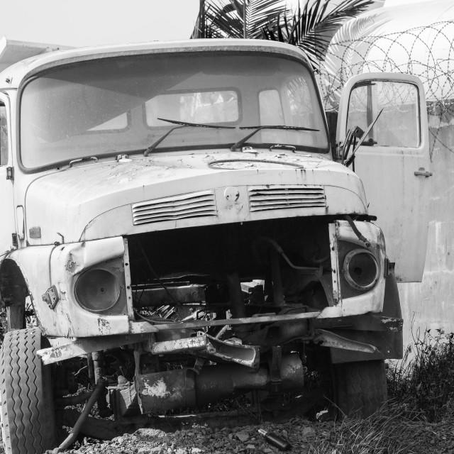 """""""Trucks Abandoned Black White"""" stock image"""