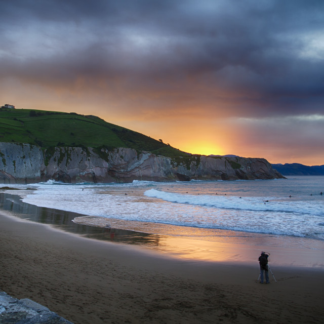 """Sunset on the Beach ""Itzurun"" in Zumaia Basque Country Spain"" stock image"