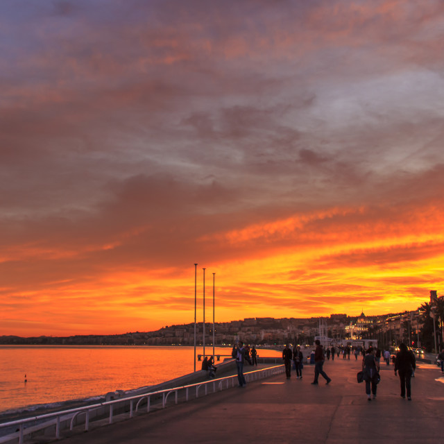 """""""Sunset on the Promenade des Anglais"""" stock image"""