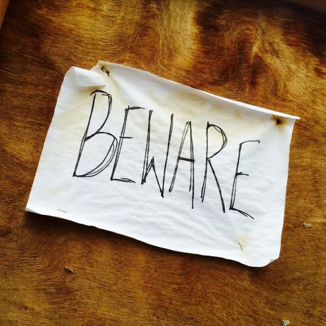 """Beware Sign"" stock image"
