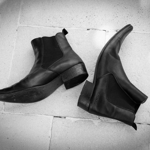 """Cuban Heel Black Leather Boots"" stock image"