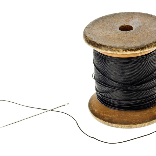 """""""Cotton Reel with Sewing Needle"""" stock image"""