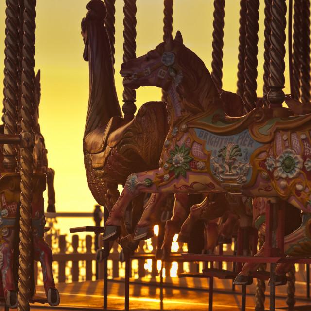 """Carousel on Brighton Beach, Brighton, East Sussex, Britain"" stock image"