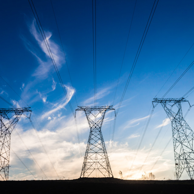 """Electrical Towers Contrasts"" stock image"