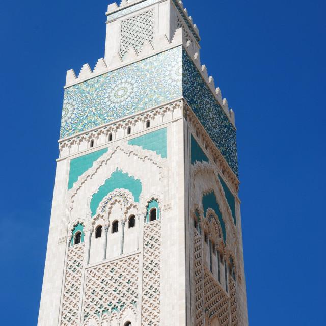"""The minaret at Hassan II Mosque, Casablanca, Morocco"" stock image"