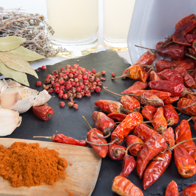 """ingredients for spicy sauce with garlic"" stock image"