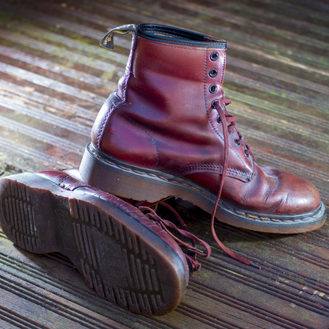 """Dr Martens Leather Lace up Boots"" stock image"