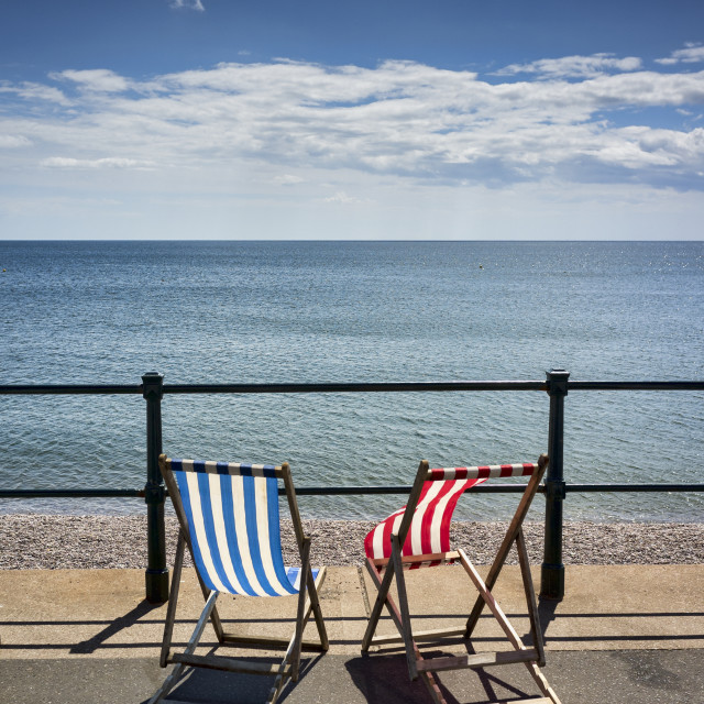 """Deck Chairs Sidmouth, Devon, Britain"" stock image"