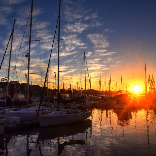 """Harbor Sunset"" stock image"