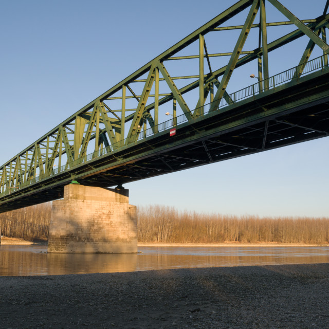 """VAMOSSZABADI, HUNGARY - FEBRUARY 13, 2014: The Vamosszabadi Bridge over Danube River"" stock image"