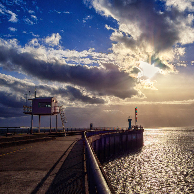 """""""Bright winter afternoon on Cardiff Barrage"""" stock image"""