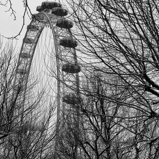 """The London Eye in Winter"" stock image"