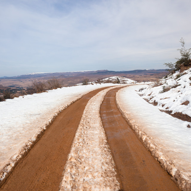 """Mountains Snow Road Tracks"" stock image"