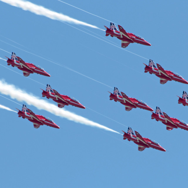 """RAF Red Arrows Eastbourne 2014"" stock image"