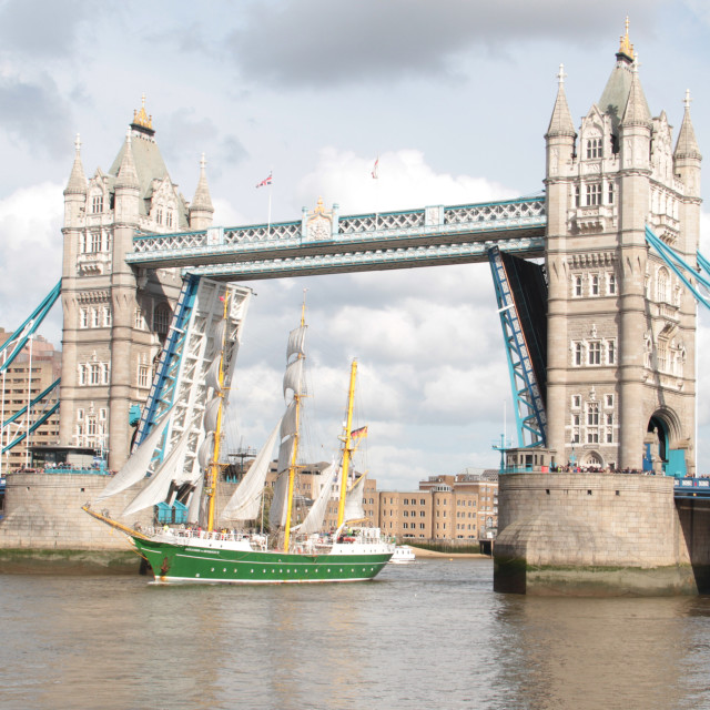 """Tall Ship Under Tower bridge"" stock image"