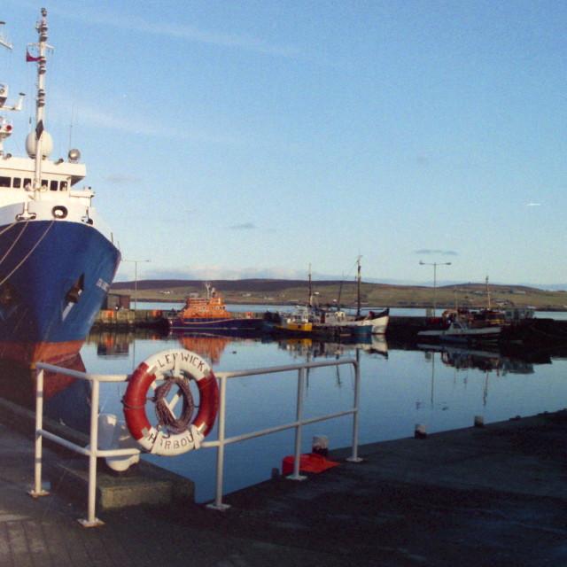 """Lerwick Harbour, Shetland."" stock image"