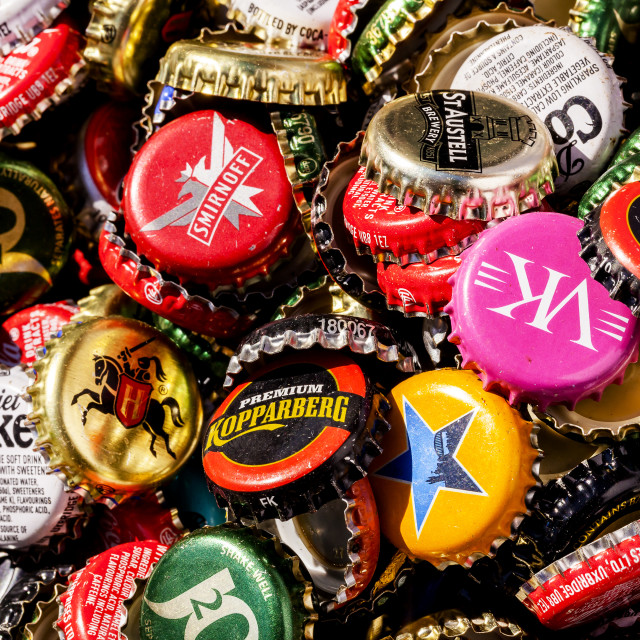 """""""Lots of bottle tops"""" stock image"""