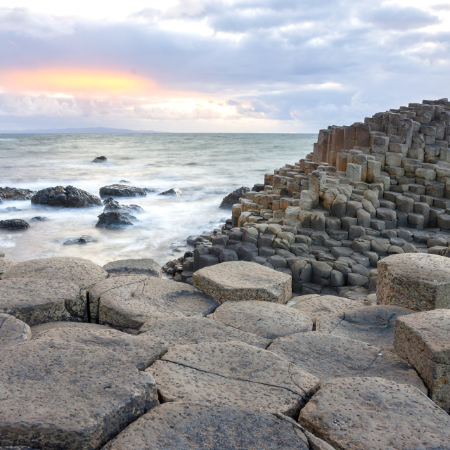 """Sunset at Giant s causeway"" stock image"