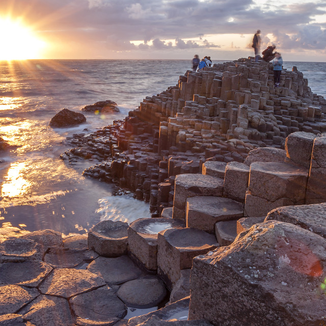 """Sunset at Giants causeway"" stock image"