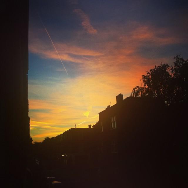 """Sunset in the neighborhood"" stock image"