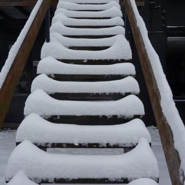 """""""Snow Stairs"""" stock image"""