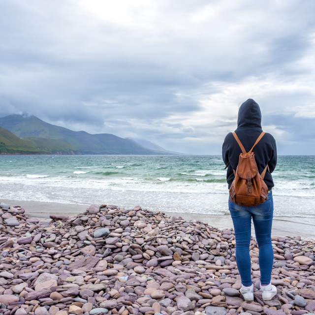 """""""Woman in front of the sea"""" stock image"""