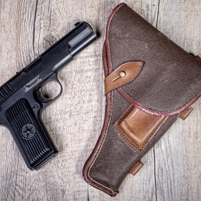 """Soviet gun with holster"" stock image"