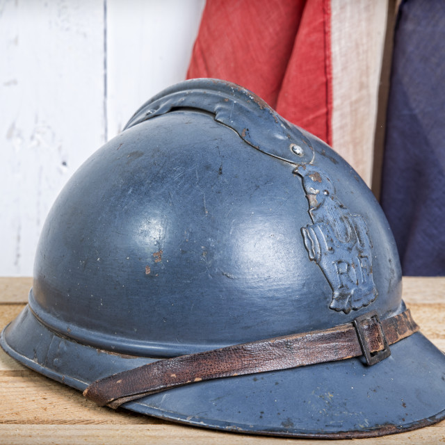 """""""french helmet and old french flag"""" stock image"""