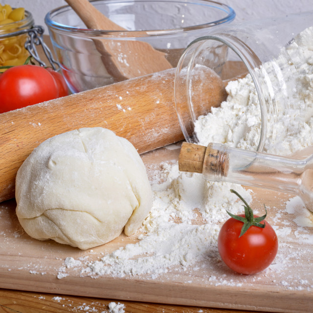 """""""Fresh tomatoes and pizza dough"""" stock image"""