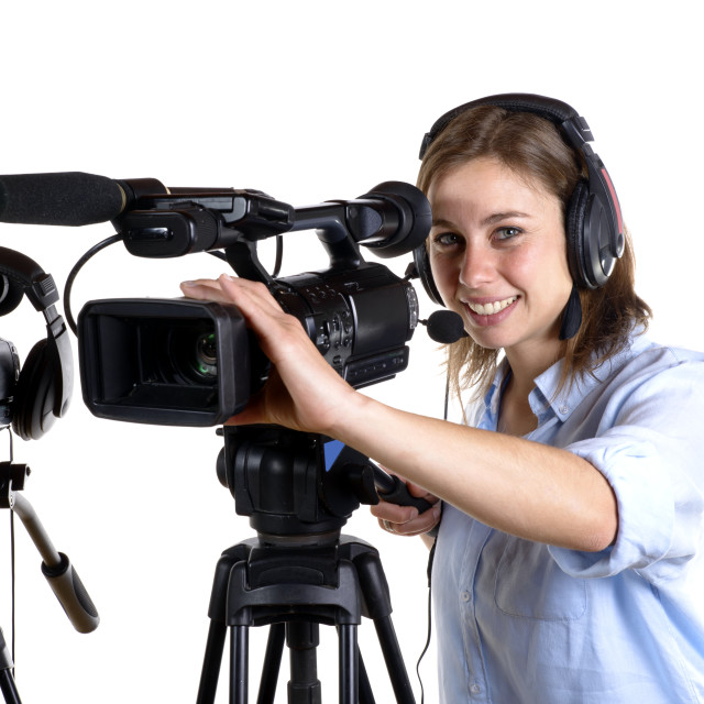 """""""young woman with a video camera"""" stock image"""