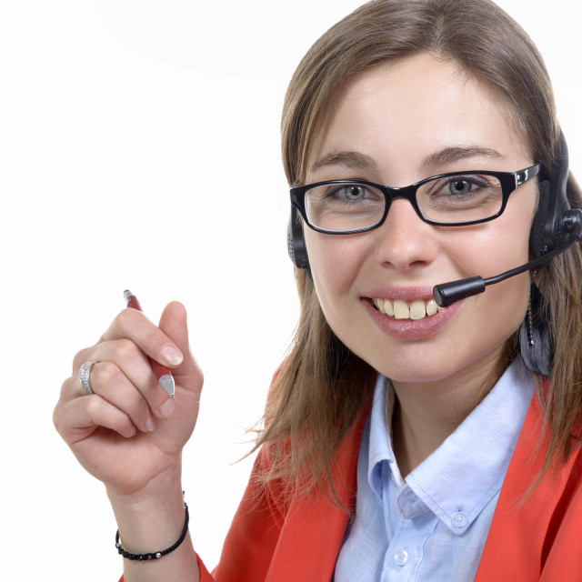 """""""a young switchboard operator smiling at the camera"""" stock image"""