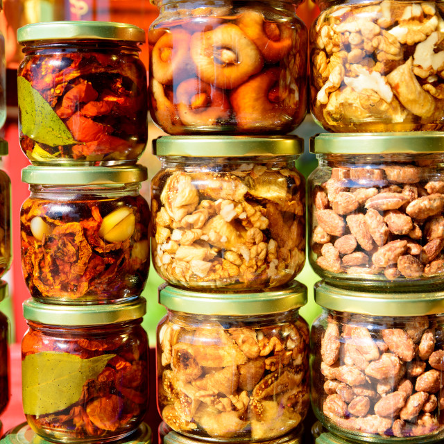"""vegetables in glass jars"" stock image"